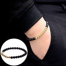 Fashion Men Women 6mm Black Matte Agate Stone 18K Copper Beaded Charm Bracelets