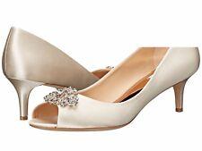 Badgley Mischka Layla Size 6 Ivory Satin Crystal Embellished Kitten Heel Pumps