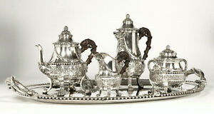 Cardeilhac Renaissance French Sterling Silver tea set Mascarons & chimera 1880