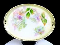 "RS PRUSSIA PINK & WHITE FLOWERS ON PASTELS GOLD ACCENTS 11"" DRESSER TRAY 1880-"