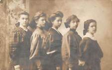 5 YOUNG WOMEN IN THEIR FANCY OUTFITS POSING ~ REAL PHOTO PC ~ c. 1910-20