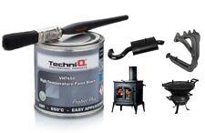 BLACK Stove Paint VHT 650 °C Heat resistant Woodburner Exhaust Stove + Brush Kit
