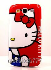 for samsung galaxy S3 case cover cute kitten hello kitty white and red blue//