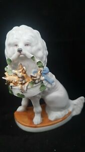 """RARE MINT VICTORIAN STAFFORDSHIRE PIG FAIRING """"DOG HOLDING 3 PIGS IN A BASKET"""""""