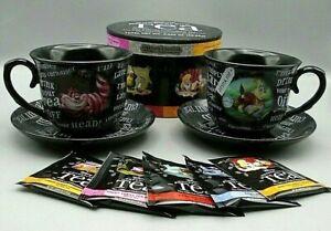 Disney Alice in Wonderland Set of 2 Black Teacups & Saucers & Unbirthday Tea