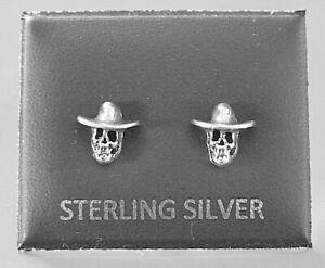 STERLING SILVER 925, STUD EARRINGS SKULL WITH HAT BUTTERFLY BACKS STUD 23