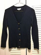 TORY BURCH NAVY BLUE WOOL CARDIGAN SWEATER WITH LOGO BUTTONS SZ. XS **NICE