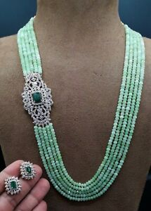 Bollywood Indian Long Green Mala Necklace Bridal Gold Plated Wedding Jewelry Set