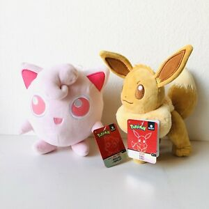 "Pokemon Select Shiny Eevee & Jigglypuff Lot Plush Wicked Cool Toys 8"" Rare HTF"