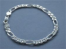 """5mm Figaro/Marina Combo Link Italy-925 10"""" Sterling Silver Ankle Bracelet"""