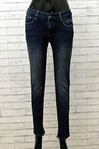 Jeans Corti Donna Liu Jo Taglia 38 Denim Blu Pantaloni Pants Woman Slim Skinny