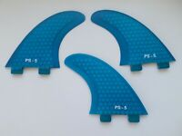 PERFORMANCE CORE surfboard THRUSTER FINS blue (set x 3) hexcore FCS compatible