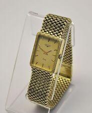 Stunning Men's Longines 14K Yellow Solid Gold Mesh Bracelet Quartz Watch 67g