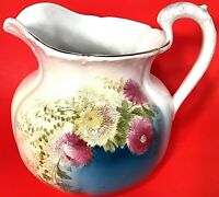 """BAYREUTH PITCHER HAND PAINTED TEAL FUSCIA GOLD TRIM TETTAU GERMANY 8"""" ANTIQUE"""