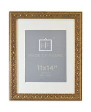 11x14 Ornate Finish Photo Frame, Bronze Color, with White Mat for 8x10 Picture
