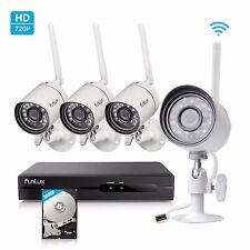 Funlux 1080p 4CH NVR 1.0MP HD IP Network Outdoor WiFi Home Security System 500G