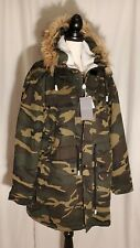 Zara Man Parka Faux Shearling Hooded Oversized Coat in Camouflage Print M
