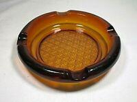 """Vintage Heavy Amber Glass Cigar Ashtray Crosshatch Pattern on Bottom 6"""" Diameter"""