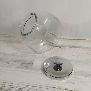 LARGE Glass General Store Angled Tilt Candy/Cookie Jar Chrome Lid & Knob