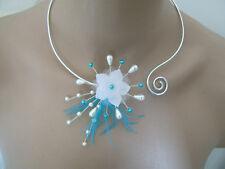 Collier Bleu Turquoise/Blanc pr robe de Mariée/Mariage/Soirée perles pas cher