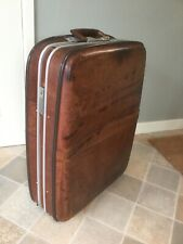 Vintage 70s Real Leather Suitcase On Wheels Made By Golden Leaf