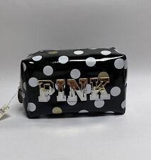 VS PINK Black Gold White Polka Dot Makeup Bag PINK Logo Zipper Cosmetic Bag