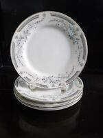 """FINE CHINA OF JAPAN ROBIN 4 BREAD AND BUTTER PLATE  6 1/2"""" DIAMETER SILVER RIM."""
