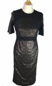 New VESPER UK 12 Black Sequin Stretch Bodycon Midi Dress Christmas Party Cruise