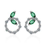 925 Sterling Silver Elegant Green CZ Cubic Zirconia Leaf Round Stud Earrings