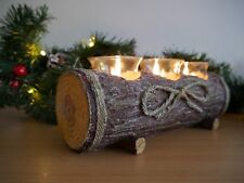 Christmas Rustic Log Candle Holder Table Centre Piece Tea Light Candle Set xmas