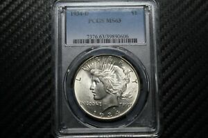 1934 D Peace Silver Dollar PCGS MS63 - Very nice! (90606)