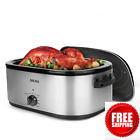 22Qt Roaster Oven Large Stainless Turkey Chicken Roast Self Basting Lid Fast photo
