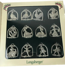 Longaberger Twelve 12 Gifts of Christmas Miniature Pewter Ornaments Tie Ons