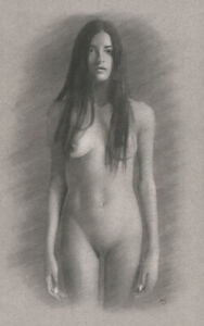 Female Nude model ORIGINAL DRAWING Charcoal Art naked woman Dark Hair NO RESERVE
