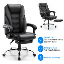 High Back Leather Office Chair Executive Office Computer Chair Footrest Black