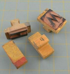 Vintage Wood Handle Stamps Rubber Letter H h W  Different Sizes Old Damaged