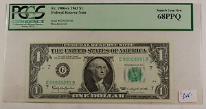 1963 $1 Federal Reserve Note, PCGS 68 PPQ, G00000091B