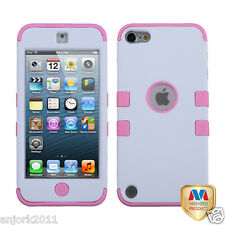 Apple iPod Touch 5 T ARMOR HYBRID CASE SKIN COVER ACCESSORY WHITE PINK
