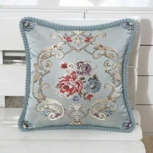 2x Embroidery Throw Pillow Case Cover Flower Curshion Home Decor Faux Satin Chic