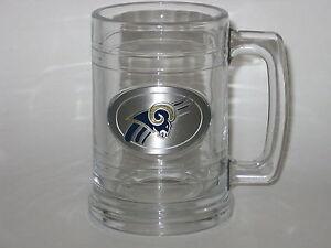 St. Louis Rams 15 ounce Glass Tankard Mug with Pewter Logo