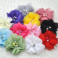 12PCS 6CM Chiffon Ribbon Flowers W/ Beads Appliques Wedding Decor Bulk E284