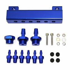 BILLET VACUUM MANIFOLD PRESSURE BLOCK w/ (6) 1/8 NPT PORTS+FITTINGS/PLUGS BLUE