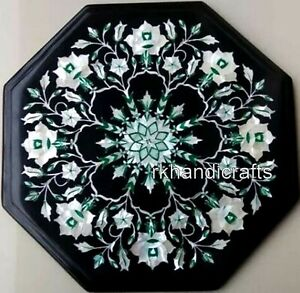 Shiny Mother of Pearl Inlay Art Coffee Table Top Black Marble Bed End table top