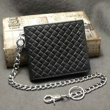 New Braided Style Genuine Leather Card Holder Biker Wallet With Safe Chain