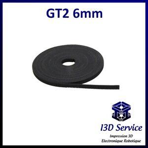 Courroie GT2 6 mm au pas de 2mm au mètre pour imprimante 3d, Anet A8, prusa