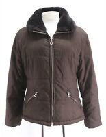 womens brown quilted ANDREW MARC bomber jacket insulated faux fur MEDIUM