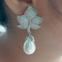 White Teardrop Sea Shell Pearl Cz pave Leave Stud Earrings