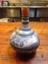 """Vtg Handpainted Mexican Tonala Jalisco Folk Art Ceramic Redware Flower Vase 12"""""""