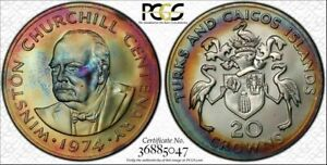 1974 Turks & Caicos Islands 20 Crowns PCGS MS67 Color Toned Only 5 Graded Higher