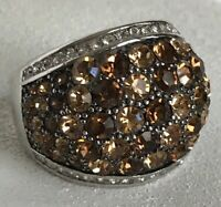 Park Lane Truffles Ring Size 9 SilverTone Hombre Brown Accents Dome Statement